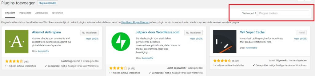 Klue installatie via WordPress