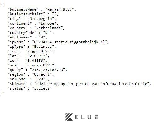 Klue API call